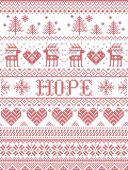 christmas wrapping paper with word hope